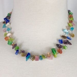 Jewelry - Silver-tone and Colorful Stone Necklace NL